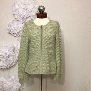 Elena Solano Zip Cardigan Sweater Cashmere Basket